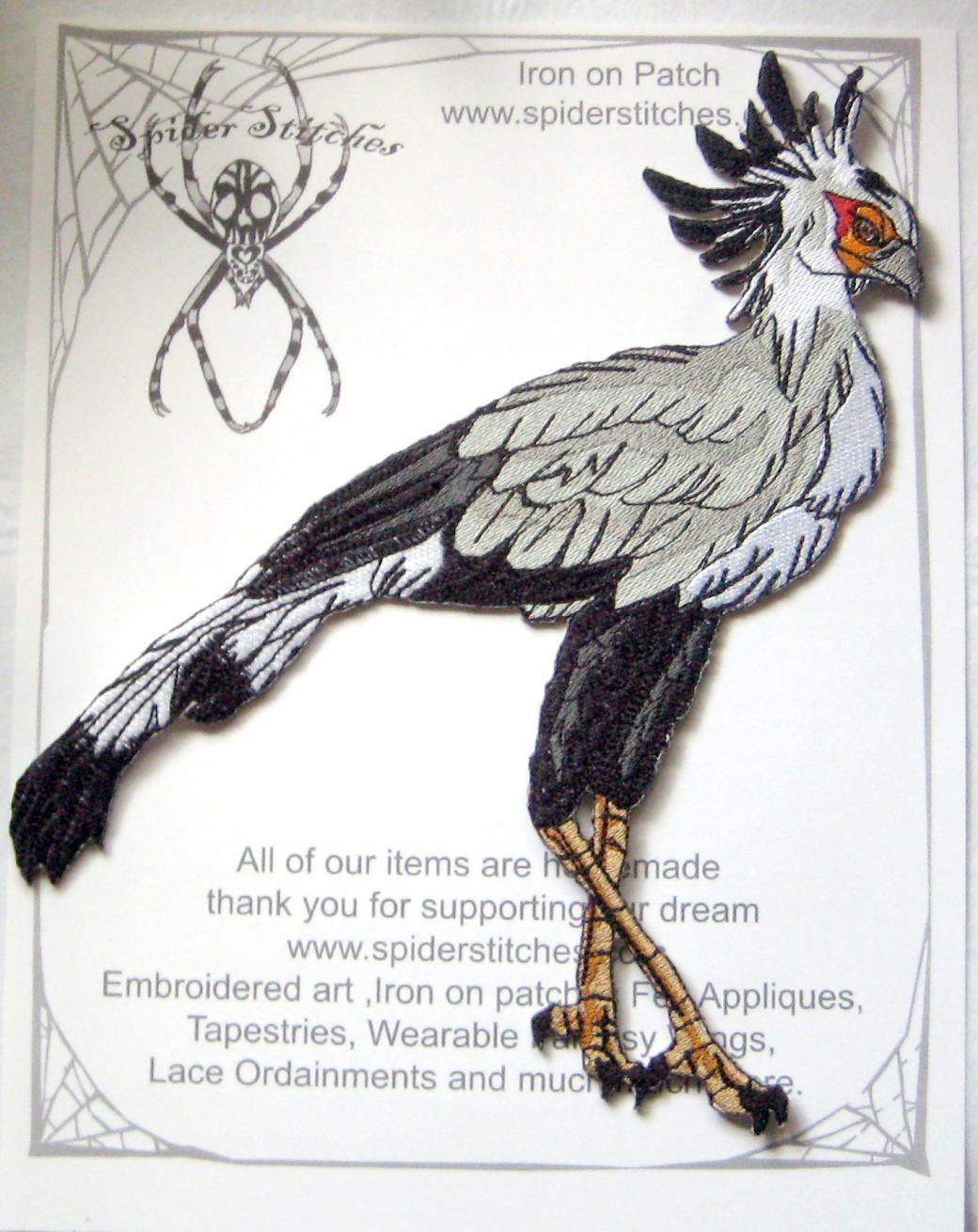 Secretery Bird Patch spiderstitches