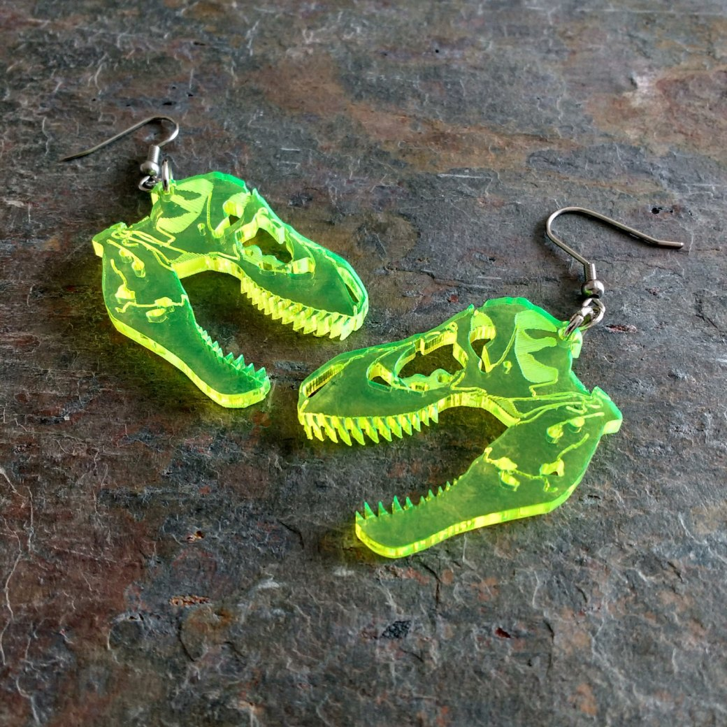T-Rex earrings chimericgarnish