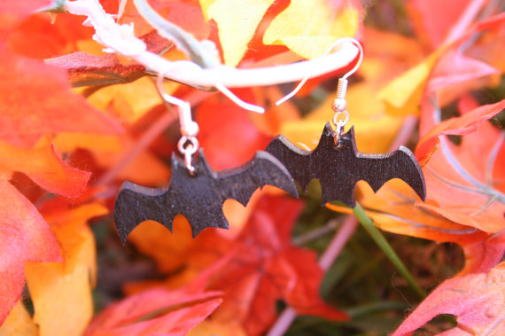 Wooden bat earrings